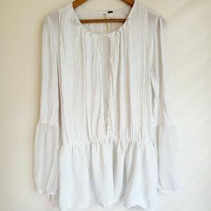 Free People | Flowy Sheer Long Sleeved Blouse